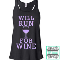 Workout Tank Top - Will Run For Wine - Workout Gear - Women's Flowy Racerback Tank Top- Cross Fit - Get Thick