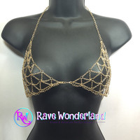 Body Chain,Gold Bra Chain, Gold Body Chain, Gold Body Jewelry, Body Chain, Bra Chain, Tribal Bra Chain, Rave, Edc, Edm, Burning Man, Tribal