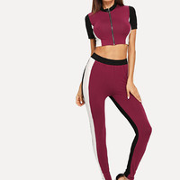 O-Ring Zip Front Cut and Sew Crop Top & Pants Set