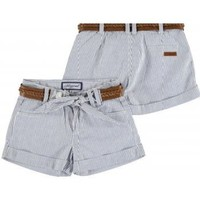 Mayoral Girls Blue and White Striped Shorts with Belt - Elfin