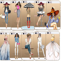 Transparent Soft TPU Phone Case Cover For iPhone 4 4S 5 5S SE 6 6s/iphone 7 Fashion Dress Shopping Girl  Mobile Phone Bag