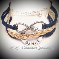 3 Strand/Multi-strand Infinity & Dance Affirmation Cord Bracelet -Customize it with a charm Mom, Dance Shoes, Dance Word, Ballerina, Dancer