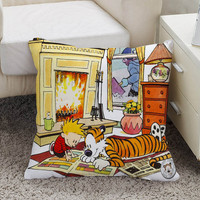 calvin and hobbes Pillow case size 16 x 16, 18 x 18, 16 x 24, 20 x 30, 20 x 26 One side and Two side