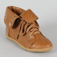 Annabelle-04 Studded Spike Cuff Lace Up Sneaker