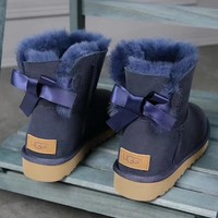 UGG : girl Large bow tie Keep warm Snow boots-2