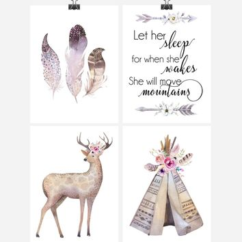 Boho Tribal Watercolor Nursery Wall Art Print Set of 4 - Let Her Sleep For When She Wakes She Will Move Mountains