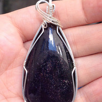 Blue Iolite Sunstone Wire Wrapped Pendant Sterling Silver Necklace