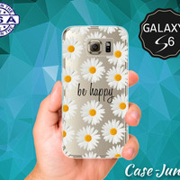Be Happy Quote White Daisy Flower Pattern Wanelo Inspired Case for Clear Rubber Samsung Galaxy S6 and Samsung Galaxy S6 Edge Clear Cover