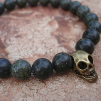 Antique Bronze Skull Bracelet with Russian Jade (Serpentine), For Him