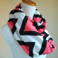 Coral Pink Black Infinity scarf and White Big Chevron Cotton Jersey chevron infinity jersey knit loop scarf