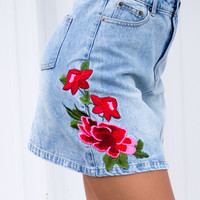 Denim Rose Skirt