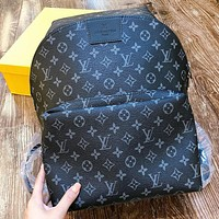 LV Fashion New Monogram Print Leather Book Bag Backpack Bag Handbag Black