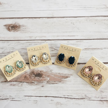 Genvieve Rhinestone Earrings (More Colors Available)