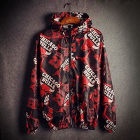 Chicago Bulls Print Loose Unisex Windbreaker Coat