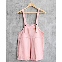 Over It Shortall Overalls in Pink Denim