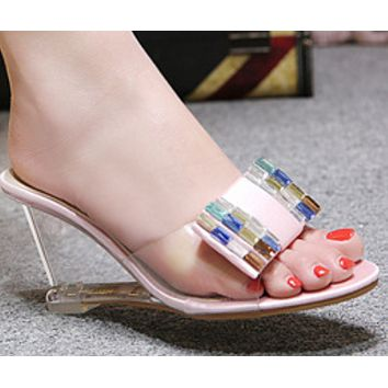 New hot sale fashion rhinestone crystal wedge slippers shoes