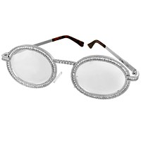 Icy Metal Frame Baguette Designer Style White Gold Tone Glasses