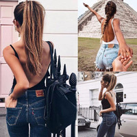 2017 Trending Fashion Summer Women Sexy Backless Solid Erotic Top Women Tank Vest _ 13305
