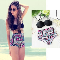 Sexy Retro Vintage Women's High Waist Bikini Set/Swimsuit/Two Pieces Swimwear = 1956832516