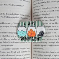 Divergent Brooch // I Am Divergent // Tris and Tobias // Veronica Roth // Hand-Painted Pinback Badge // Wearable Art // Gift for Readers