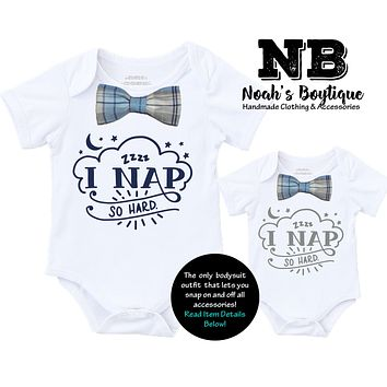 Cute Baby Boy Clothes I Nap So Hard with Blue and Gray Plaid Bow Tie