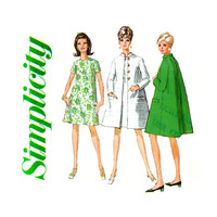 1960s Mod Dress and Coat Pattern Bust 36 UNCUT Simplicity 7441 Day or Evening Flared Tent Coat & A Line Dress Womens Vintage Sewing Patterns