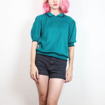 Vintage 1980s Sweater Teal Green Black Knit Blouse Collared Shirt Slouch Top Preppy Mod 80s Jumper Short Sleeve Secretary Blouse S Small M