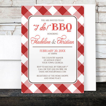 I Do BBQ Couples Shower Invitations - White Red Gingham Country BBQ - Printed Invitations