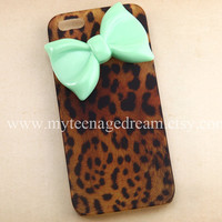 iphone 5 case, leopard cases for iPhone 5, cheetah iphone 5 hard case, mint green bow iPhone 5 case