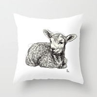 Baby Animals - Lamb Throw Pillow by Ursula Rodgers