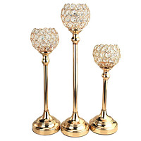 Crystal Globe Candle Holder Metal Centerpiece, Gold, 3-Piece