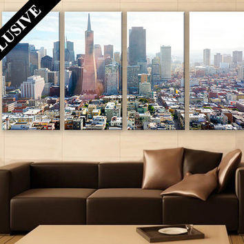 Canvas Print LARGE Wall Art 3 Panel Art San Francisco Cityscape Print Large Canvas Art Modern Wall Art Print for Home and Office Wall Décor