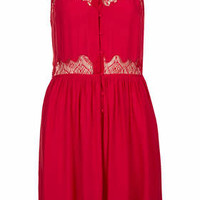 Strappy Lace Panel Sundress - Red