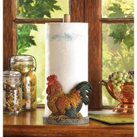 Country Rooster Design Paper Towel Holder Decor