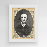 Instant download, Literary Art Print, Edgar Allan Poe, Edgar Allan Poe Print Art, Edgar Allan Poe Portrait, Upcycled Dictionary, Art Print