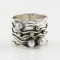 Pearl Two Tone Sterling Silver Wave Band Ring
