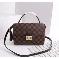 LV Louis Vuitton DAMIER CANVAS CROISETTE HANDBAG INCLINED SHOULDER BAG