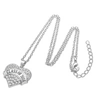Graduation Class of 2016 Crystal  Silver Heart Necklace Jewelry Pendant Gift