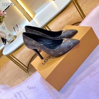 Top Quality 2020 Office New LV Louis Vuitton Women Trending Leather Heels Shoes Black brown white red High Heel flats Shoes