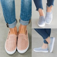 Women Cut-outs Elastic Band Vulcanized Shoes Female Flock Slip-on Shallow Breathable Flat Casual Shoes Woman Plus Size