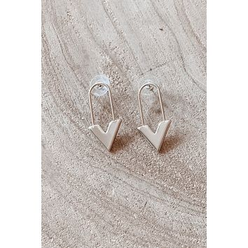 Run Into You Gold Safety Pin Earrings