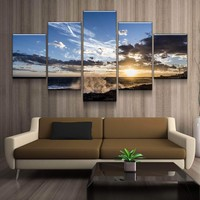 Sunset Wave Crash Canvas Set