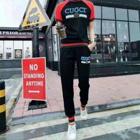 ONETOW Gucci' Women Casual Multicolor Stripe Letter Print Short Sleeve Trousers Set Two-Piece Sportswear