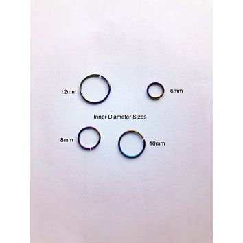 set of 2 niobium nose rings, variety pack, tragus ring, hoop ring, cartilage rings, helix earring,  6mm 8mm 10mm 12mm thin nose ring