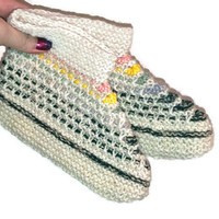 Wool Slippers, Handknit Wool Socks Colorful Women's Slippers Hand knitted female slippers gift for woman multi color house shoes