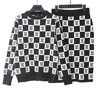 LV Louis Vuitton High Quality Autumn Winter Newest Popular Women Knit Long Sleeve Plaid Sweater Top Skirt Two Piece Set Black