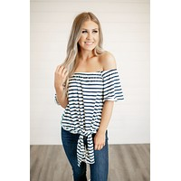 Line of Sight Off Shoulder Top (Navy)