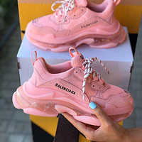Balenciaga Triple S hot sale crystal platform men's and women's casual shoes Pink