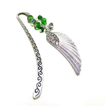 Silver Angel Wing Bookmark, Green Crystal Bookmark, Beaded Bookmark, Green Bookmark, Booklovers, Student Gift, Teacher Gift, Friendship Gift