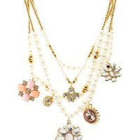 Multi Layered Pearl Charm Necklace by Charlotte Russe